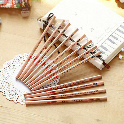 5x in Vintage Wooden Triangle Pencil Drawing Sketching School Student Stationery