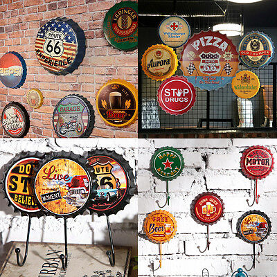Retro Metal Sign Tin Beer Cap Bottle Cover Hook Pub Bar Club Cafe Home Wall Deco