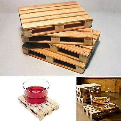 Newest 4Pcs Mini Set Wooden Pallet Styled Cups Holder Mat Coffee Drinks Coasters