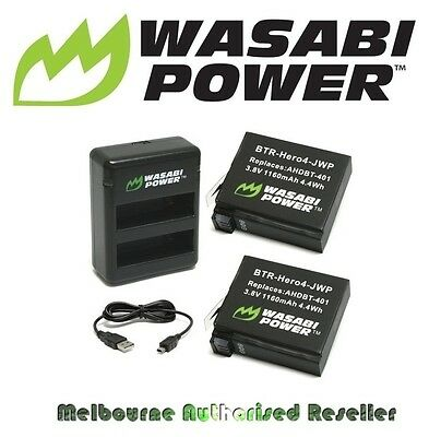 Wasabi Power Battery for GoPro HERO 4 (1160mAh) x 2 with Dual USB Charger Go Pro