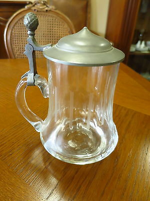 Old German Etched Glass Stein Tankard with Pewter Lid