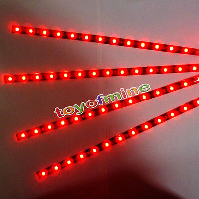 4X RED color 15 LED 30cm SMD Car Auto Flexible Grill Light Lamp Strip Waterproof