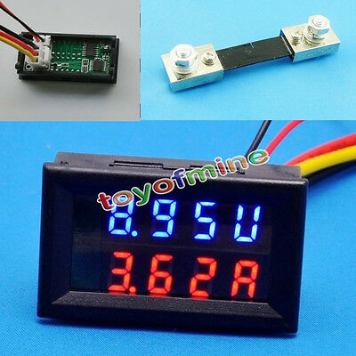 100V 100A DC Digital Voltmeter Ammeter Red Blue LED Amp Volt Meter+Current Shunt