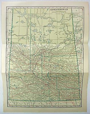 Original 1914 Map of Saskatchewan, Canada by L. L Poates
