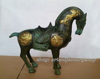 Ferghana horse ancient Bronze Plate gold Dragon Phoenix good luck bronze statue