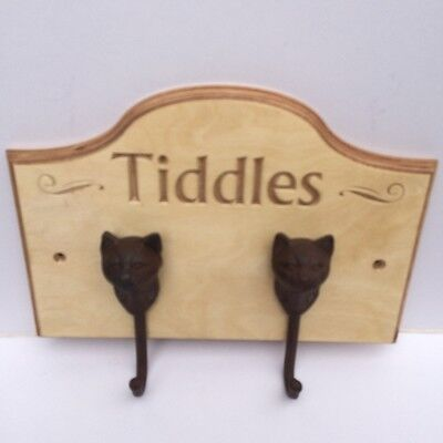 Personalise (with your cat's name) Wall hook. Ideal for hanging coats and leads!