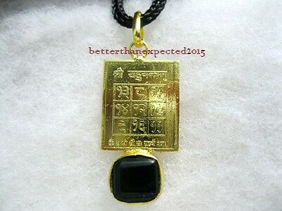 Energized Rahu Yantra Pendant with Gomed / Hessonite Gemstone 5 Ratti, or 480 mg