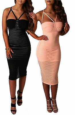 Ladies Sleeveless Bodycon Midi Dress Nude Bustier Strappy Party Dress 8-14