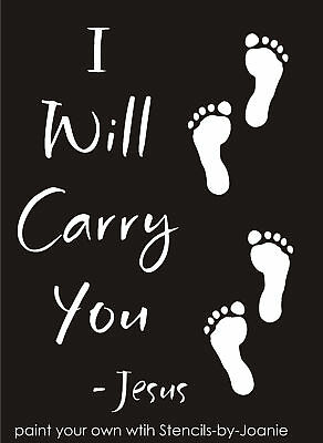 Primitive Inspirational STENCIL Jesus I will carry You Footprints Sand Art Signs