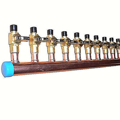 """1"""" Copper Manifold 3/4"""" Pex Crimp Fitting (With & W/O Ball Valve) 2-12 Loops*"""