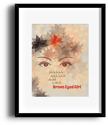 VAN MORRISON BROWN-EYED GIRL Illustrated Song Lyric Music Poster (Prints Canvas)