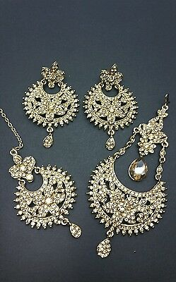 New Indian bollywood Elegant tikka & Earrings with jhumaar jewellery LCT