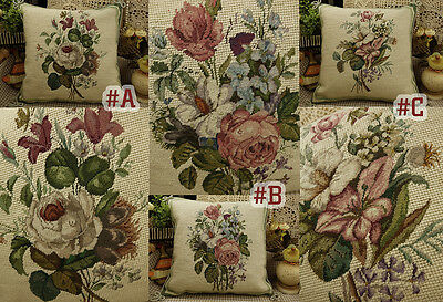 "14"" Hand Crafted Needlepoint Petit Point Pink White Roses Pillow"