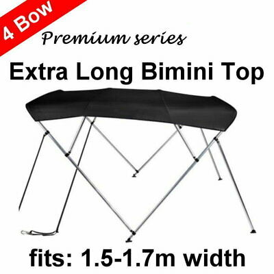 240cm Extra Long 4 Bow 1.5m-1.7m Boat Bimini Top Canopy Cover 130cm height Black