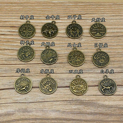 Full Set of 12 Zodiac Sign Pendant Round Double Sided Horoscope Charms DIY