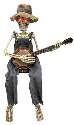 Halloween Animated Skeleton Playing Banjo Guitar Lights Sounds Prop Decoration