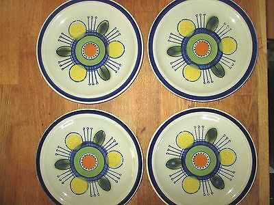 "Set 4 ROC STONE International Stoneware 7.5"" Salad Plates Carnival Pattern XLNT"