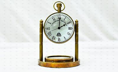 Vintage Style Table Top Desk Brass Clock Antique Collectible Watch Decorative