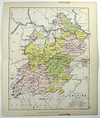 Original Philips 1882 Map of The County of Selkirk, Scotland