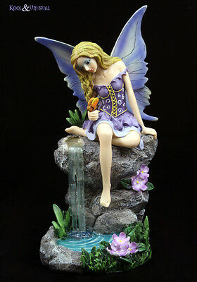 "Lisa Parker Statue Figurine: ""Waterfall Whispers"" Purple Fairy with Butterfly"