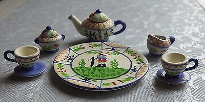 Dolls house miniatures: patterned tea set with serving tray