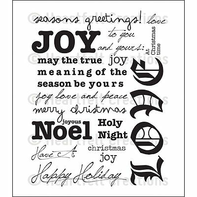 HEARTFELT CREATIONS HOLIDAY script background stamp set hcpc3562 joy noel  christ