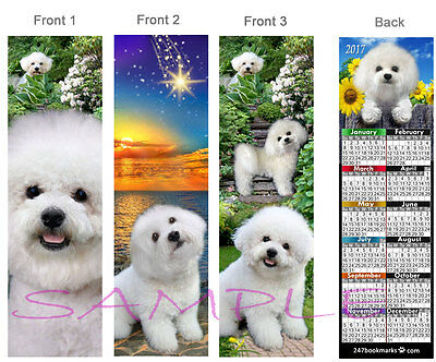 3-BICHON FRISE 2017 Calendar BOOKMARK White DOG maltese poodle ART Card Ornament