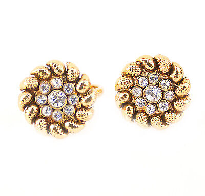 Bollywood Bridal Fashion Gold Plated Resizable Toe Ring Flower Shape Stone Stud