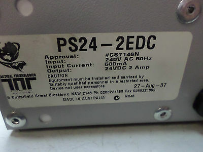 TACTICAL TECHNOLOGIES - 24VDC Power Supply 2 Amps - 240AC supply PS24-2EDC