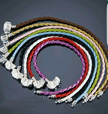 1 X 925 clasp GENUINE LEATHER BRAIDED CHARM BRACELET FOR BEADS 19cm.