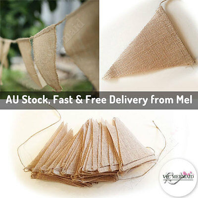 10M 48 flags Hessian Banner Burlap Rustic Bunting Wedding Party Decorations