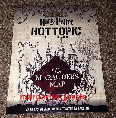 "Hot Topic ""harry Potter Hogwarts The Marauder's Map"" Gift Card No Value New"