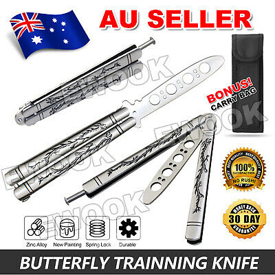 Folding Balisong Dull Blade Practice Trainer Traning Butterfly Knife Metal Tool