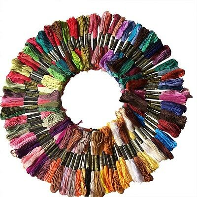 100Pcs Cotton  Embroidery Thread Floss Sewing Skeins Craft Knitting Spiraea