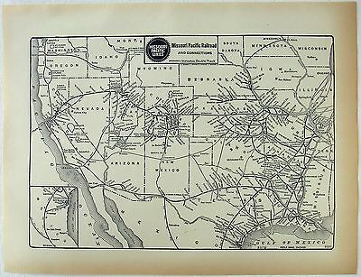 Original 1929 Dated Missouri Pacific Railroad System Map. RR Railway