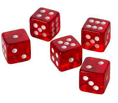 20 x LARGE CASINO STYLE Six Sided RED Dice 19mm Craps - FREE SHIPPING