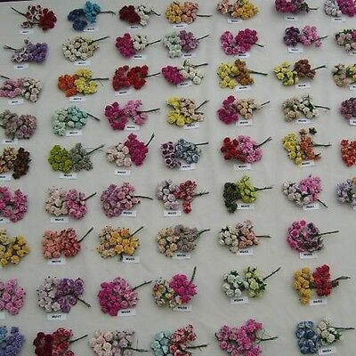 20 Mixed Mulberry Paper Flower 15Mm Mu 1- Mu60 (Lots Of Colours To Choose)