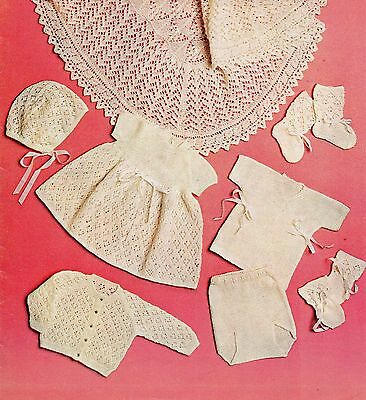 Baby Knitting Pattern 3 ply Vintage Shawl and Layette Set  Prem Sizes  #309