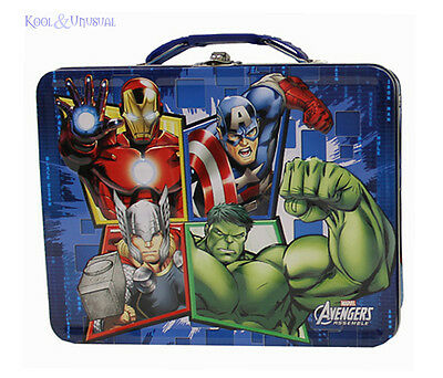 """Awesome MARVEL COMICS """"Avengers Assemble"""" Retro Lunchbox Carry All Tin Box"""