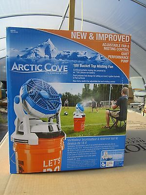 Free Ship,  Arctic Cove 18-Volt Two Speed Misting Bucket Top Fan, New