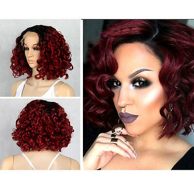 Cute Women's BOB Curly Short Wig Party Lace Front Sexy Wigs Natural Black Color