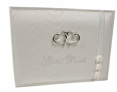 White Wedding Bridal Guest Book 40 Pages Raised Interlocking Hearts Gift