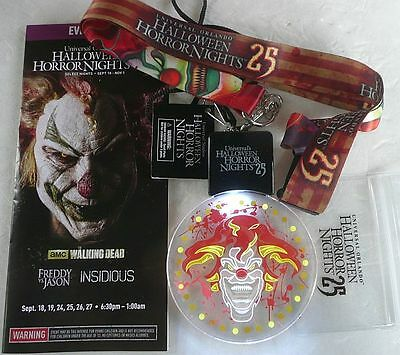 2015 1 Animated Lighted Jack Clown + 1  Lanyard Universal Halloween Horror Night