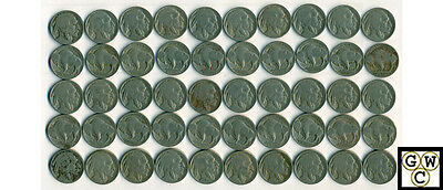 1919  Buffalo Nickels About Good-Good/Very Good (Lot of 50 Coins)