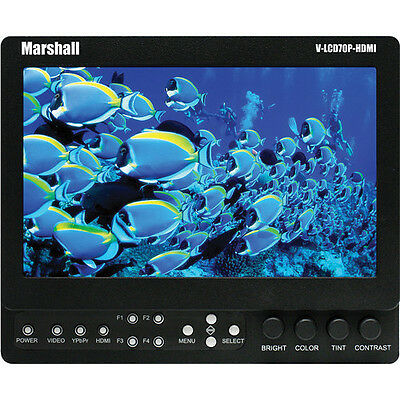 """Marshall V-LCD70XP-HDMI  7"""" LCD Field Monitor w/Canon Mount in Good Condition"""