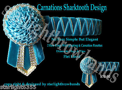 Browband Sharktooth Carnation all Teal &  gold by Starlight Browbands