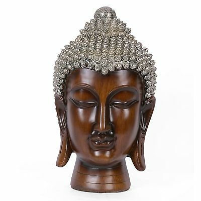 New Meditating Wooden Buddha Head Sculpture With Silver Tone Points On Head