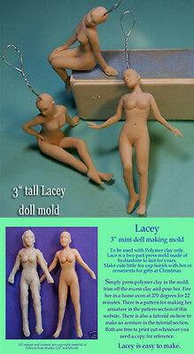 """LACEY-TINY LADY TEACUP FAIRY 3"""" PRESS MOLD for polymer clay by Patricia Rose"""