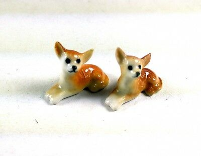 2Pc Adorable Chihuahua Dog Ceramic Miniature Handmade Collectible Figurine Puppy