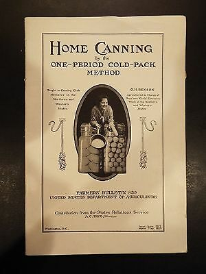 Home Canning Farmers Bulletin 839 US Department of Agriculture 1918